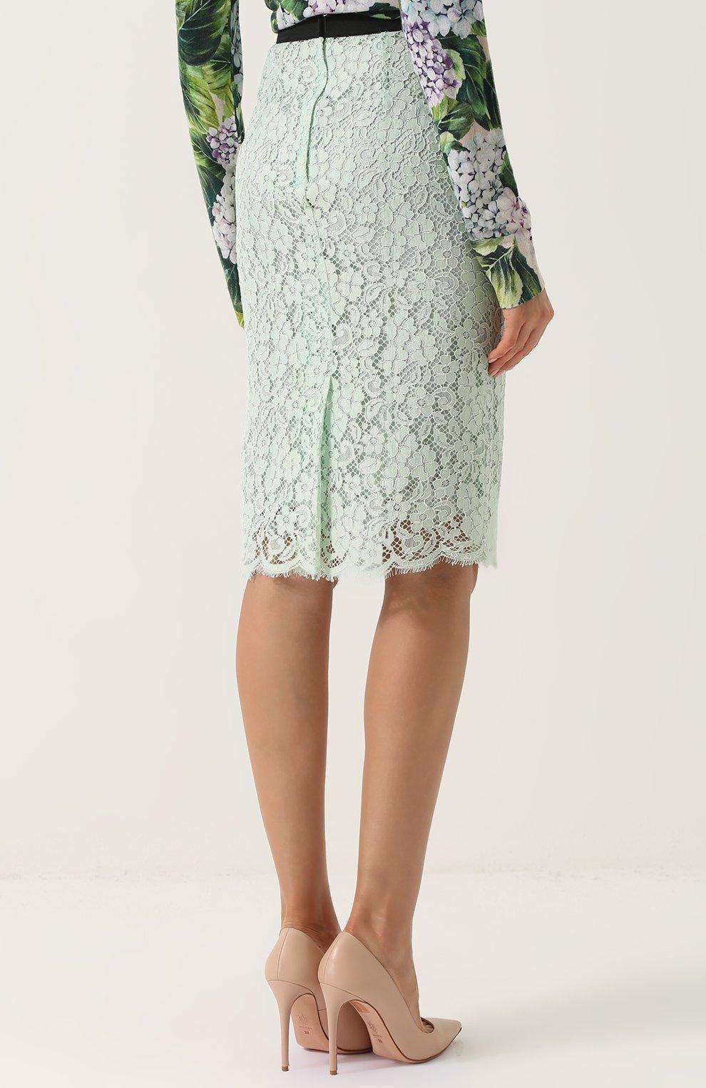 Кружевная юбка-карандаш с контрастным поясом Dolce & Gabbana светло-зеленая | Фото №4