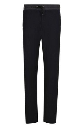 Шерстяные брюки прямого кроя с поясом на кулиске