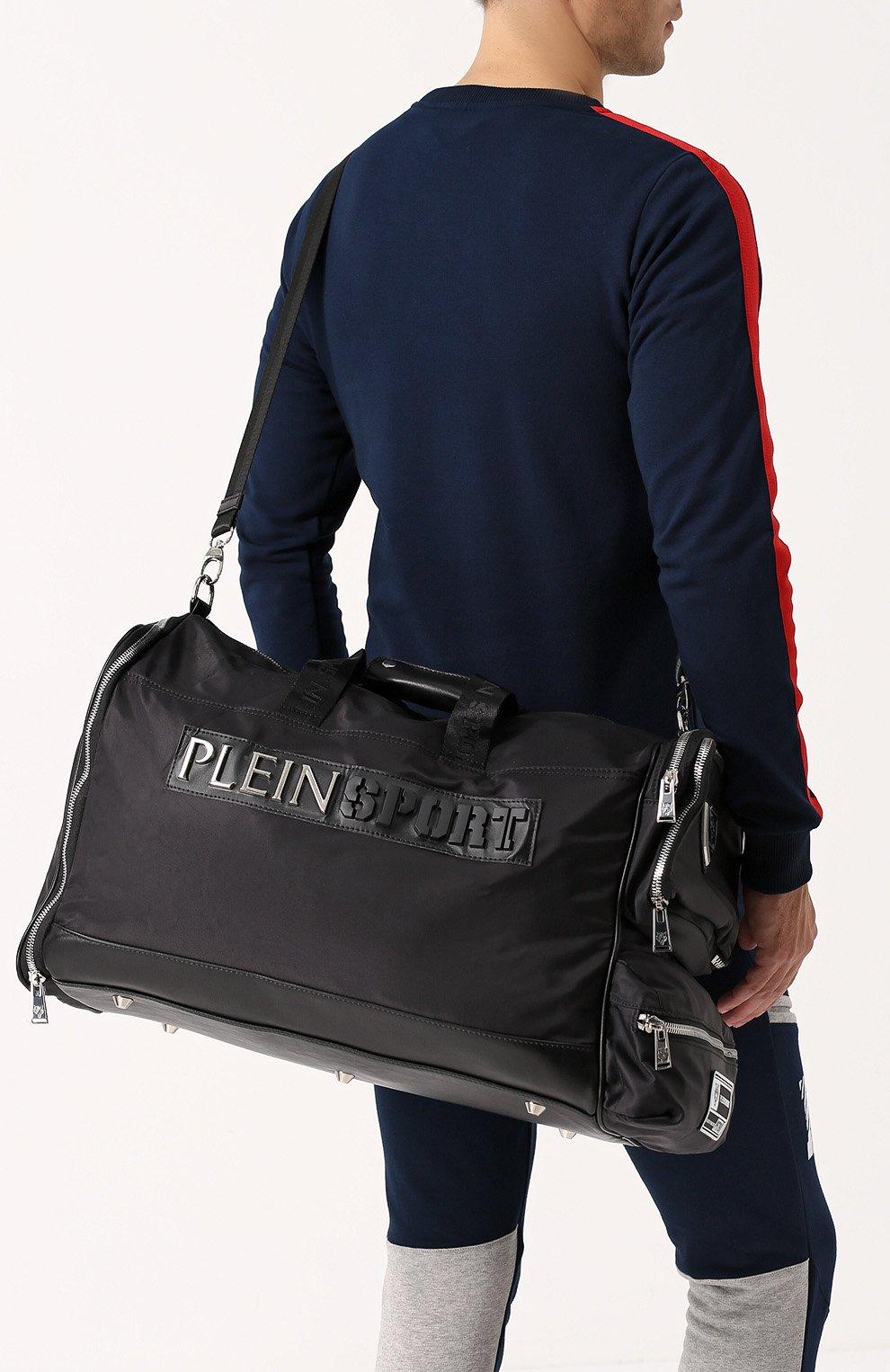 08777261bfba Текстильная дорожная сумка с плечевым ремнем Plein Sport черная   Фото №5