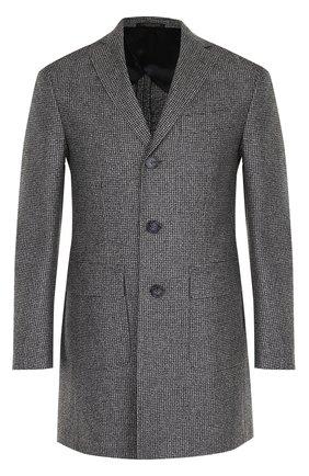 Однобортное шерстяное пальто с отложным воротником