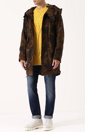 Шерстяной свитер фактурной вязки | Фото №2