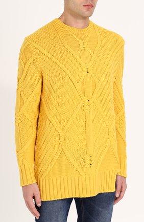 Шерстяной свитер фактурной вязки | Фото №3