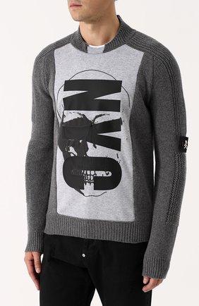Шерстяной свитер с хлопковой вставкой | Фото №3
