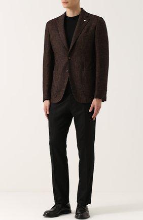 Однобортный пиджак из смеси хлопка и шерсти L.B.M. 1911 коричневый | Фото №1