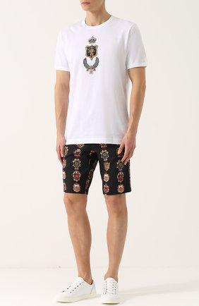 Хлопковая футболка с аппликацией Dolce & Gabbana белая   Фото №2