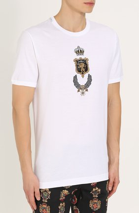 Хлопковая футболка с аппликацией Dolce & Gabbana белая   Фото №3