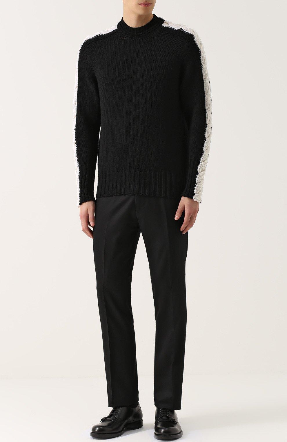 5625c93cfdbc3 Шерстяной свитер с контрастной отделкой Bottega Veneta черный | Фото №2