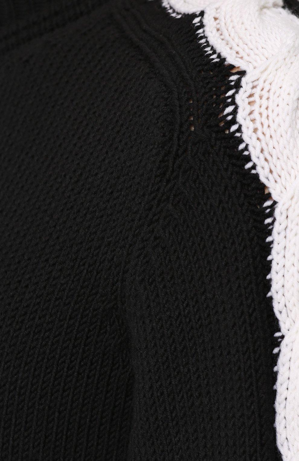 ffeb95f829a80 Шерстяной свитер с контрастной отделкой Bottega Veneta черный | Фото №5