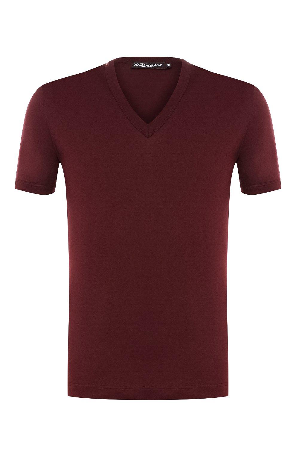 Хлопковая футболка с V-образным вырезом   Фото №1