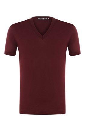 Хлопковая футболка с V-образным вырезом Dolce & Gabbana бордовая   Фото №1