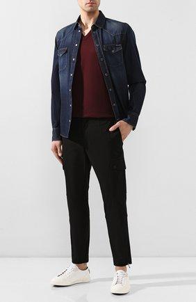 Хлопковая футболка с V-образным вырезом Dolce & Gabbana бордовая   Фото №2