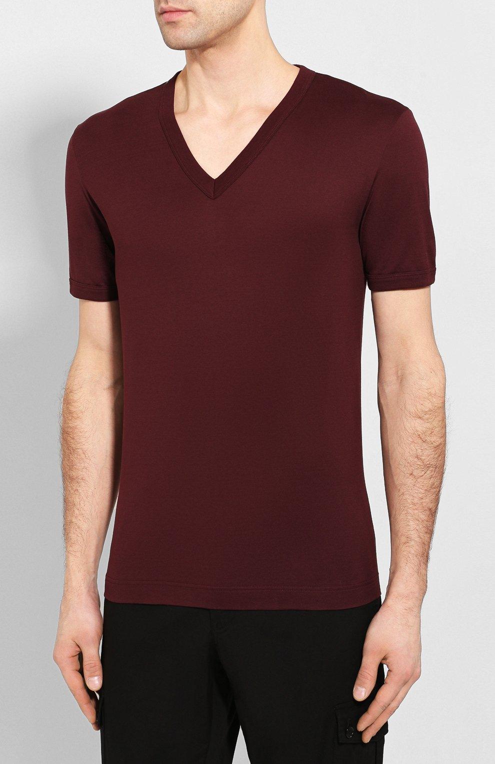 Хлопковая футболка с V-образным вырезом Dolce & Gabbana бордовая   Фото №3
