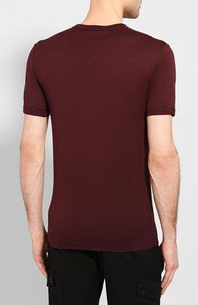 Хлопковая футболка с V-образным вырезом Dolce & Gabbana бордовая   Фото №4