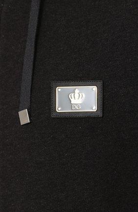 Хлопковый кардиган на молнии с контрастной отделкой Dolce & Gabbana серый | Фото №5