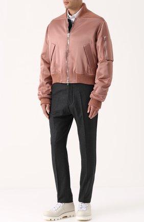 Бомбер на молнии с манжетами из смеси шерсти и кашемира Cedric Charlier розовая | Фото №1