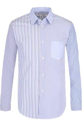 Хлопковая рубашка в полоску Comme des Garcons SHIRT BOYS голубая | Фото №1