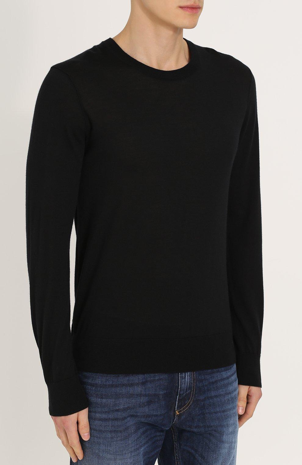 Кашемировый джемпер тонкой вязки Dolce & Gabbana черный | Фото №3