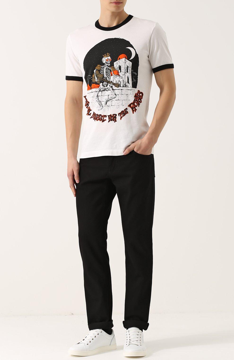 Хлопковые брюки прямого кроя Dolce & Gabbana черные | Фото №2