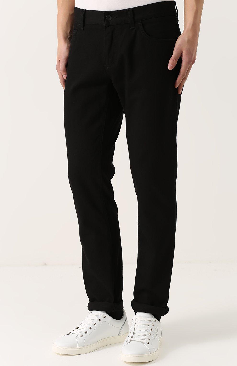Хлопковые брюки прямого кроя Dolce & Gabbana черные | Фото №3
