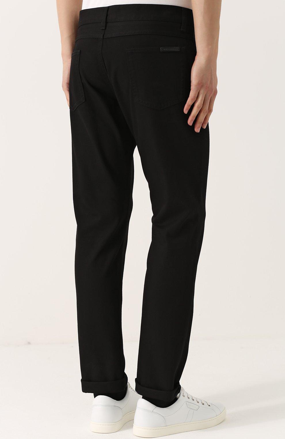 Хлопковые брюки прямого кроя Dolce & Gabbana черные | Фото №4