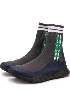 Высокие текстильные кроссовки без шнуровки | Фото №1