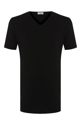 Мужские хлопковая футболка с v-образным вырезом ZIMMERLI черного цвета, арт. 172-1462 | Фото 1