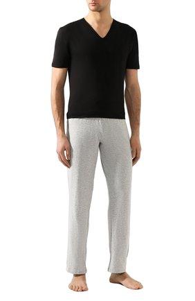 Мужские хлопковая футболка с v-образным вырезом ZIMMERLI черного цвета, арт. 172-1462 | Фото 2