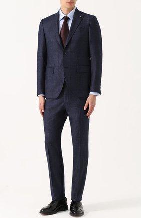 Шерстяной костюм в клетку с пиджаком на двух пуговицах | Фото №1