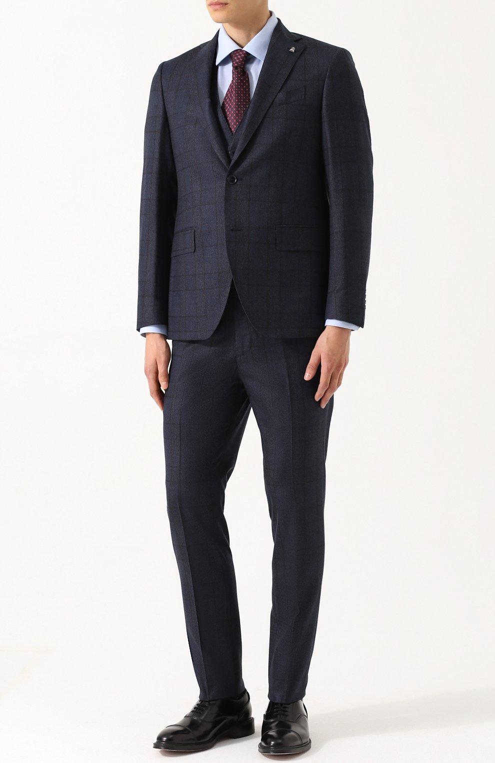 Шерстяной костюм-тройка в клетку с пиджаком на двух пуговицах   Фото №1