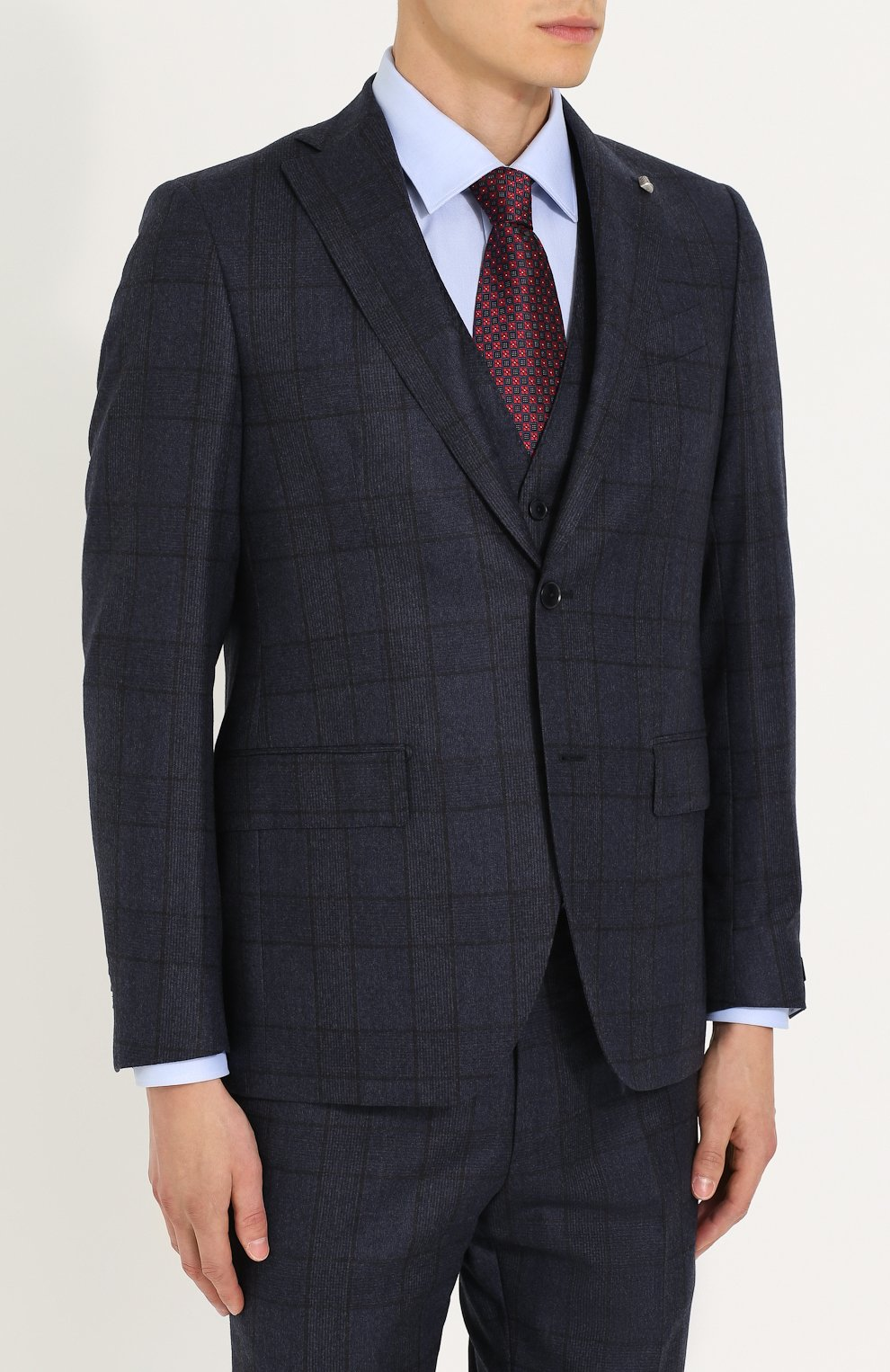 Шерстяной костюм-тройка в клетку с пиджаком на двух пуговицах   Фото №2