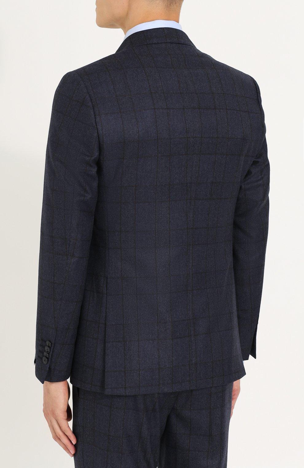 Шерстяной костюм-тройка в клетку с пиджаком на двух пуговицах   Фото №3