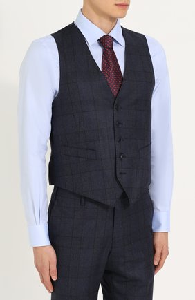 Шерстяной костюм-тройка в клетку с пиджаком на двух пуговицах   Фото №4