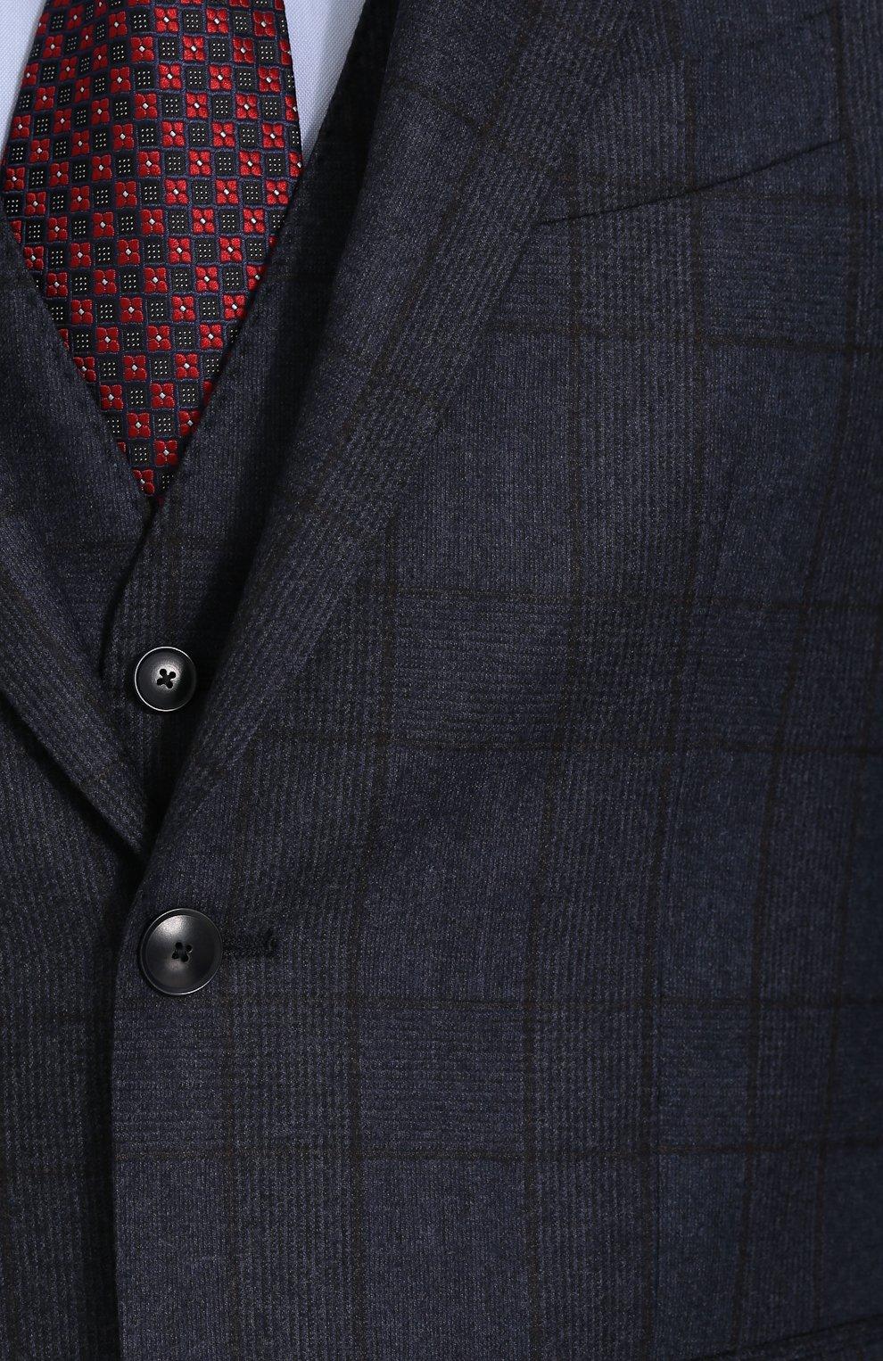 Шерстяной костюм-тройка в клетку с пиджаком на двух пуговицах   Фото №8