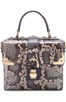 Сумка Dolce Soft из кожи питона Dolce & Gabbana серая цвета | Фото №1
