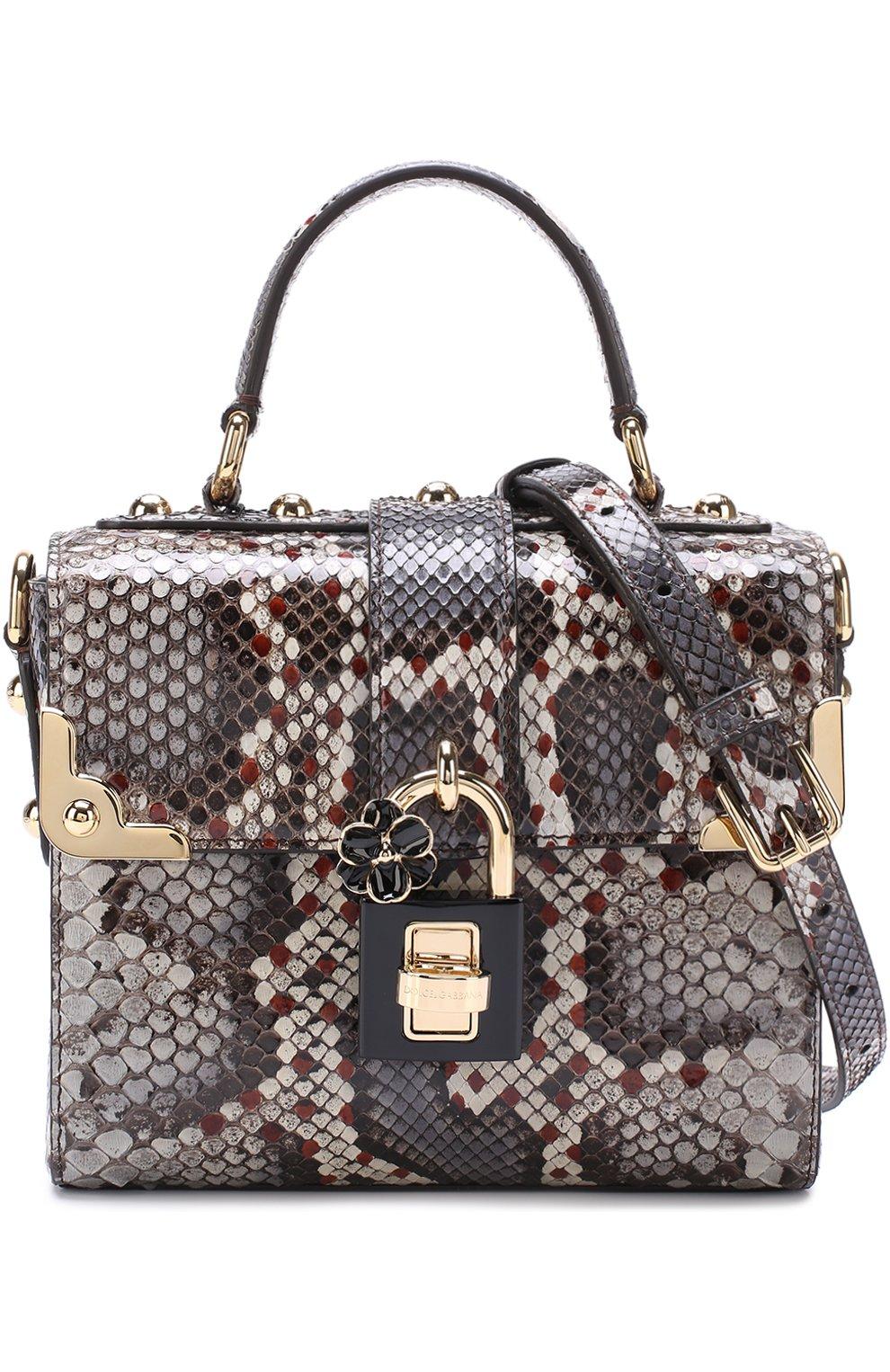 Сумка Dolce Soft из кожи питона Dolce & Gabbana серая цвета | Фото №6