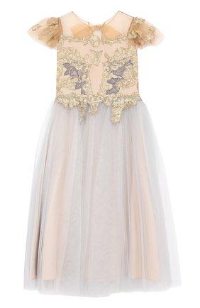 Макси-платье с металлизированной вышивкой и бантом | Фото №1