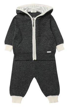 Костюм из шерсти и кашемира с контрастной отделкой Baby T светло-серого цвета | Фото №1