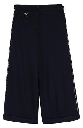 Трикотажные расклешенные брюки со стразами   Фото №1