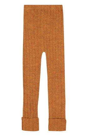 Детские леггинсы из шерсти Oeuf светло-коричневого цвета | Фото №1