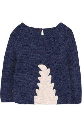 Детский шерстяной свитер с контрастной отделкой Oeuf синего цвета | Фото №1