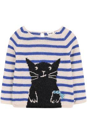 Шерстяной свитер в полоску с контрастной отделкой | Фото №1