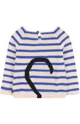Детский шерстяной свитер в полоску с контрастной отделкой Oeuf разноцветного цвета | Фото №1