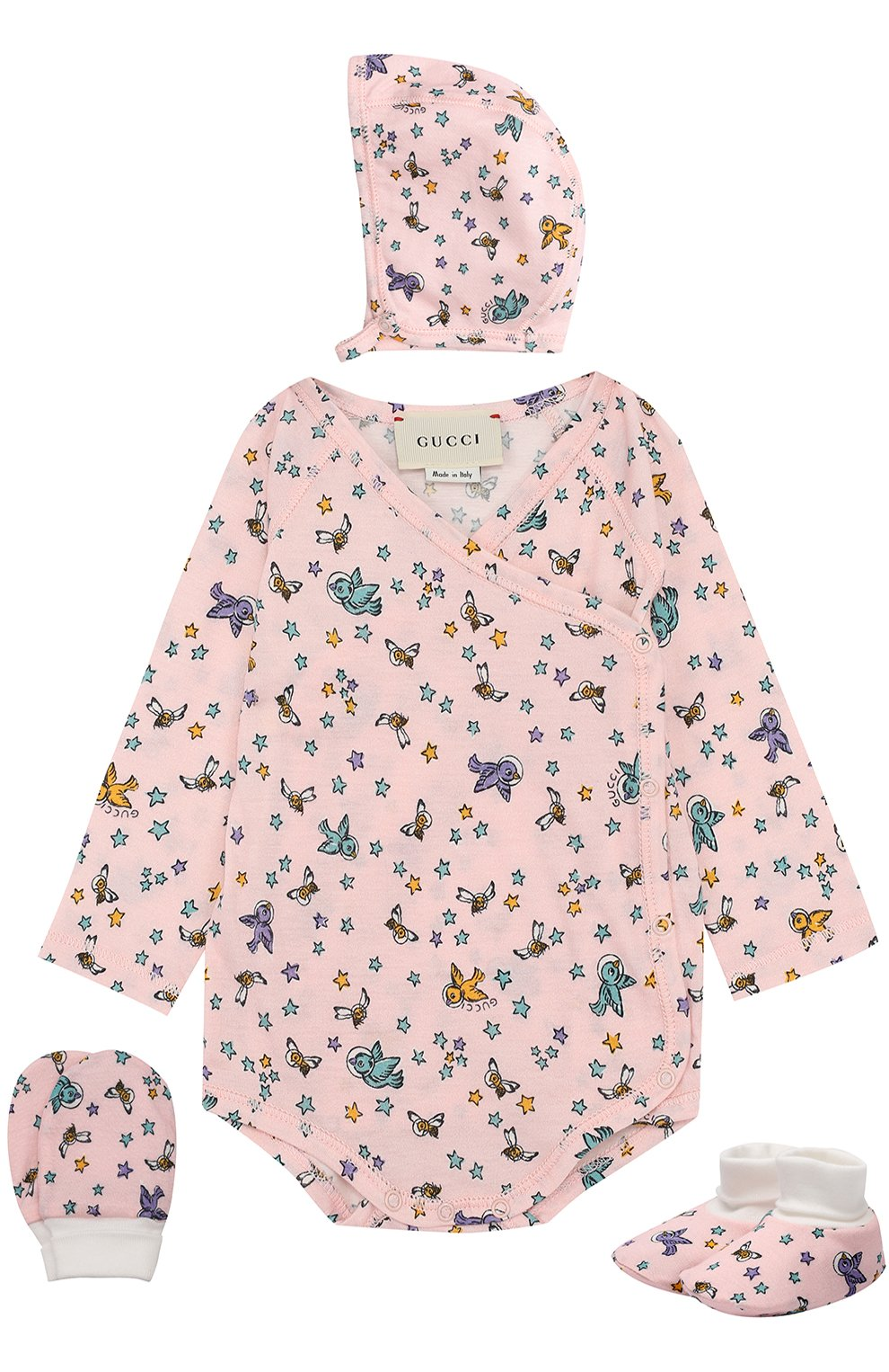 Детское хлопковый комплект из боди с шапочкой и пинеток с варежками GUCCI розового цвета, арт. 478413/X9A95 | Фото 1