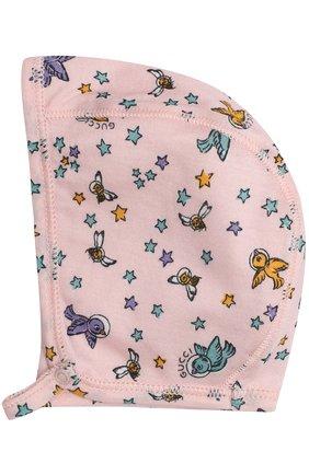 Детское хлопковый комплект из боди с шапочкой и пинеток с варежками GUCCI розового цвета, арт. 478413/X9A95 | Фото 4