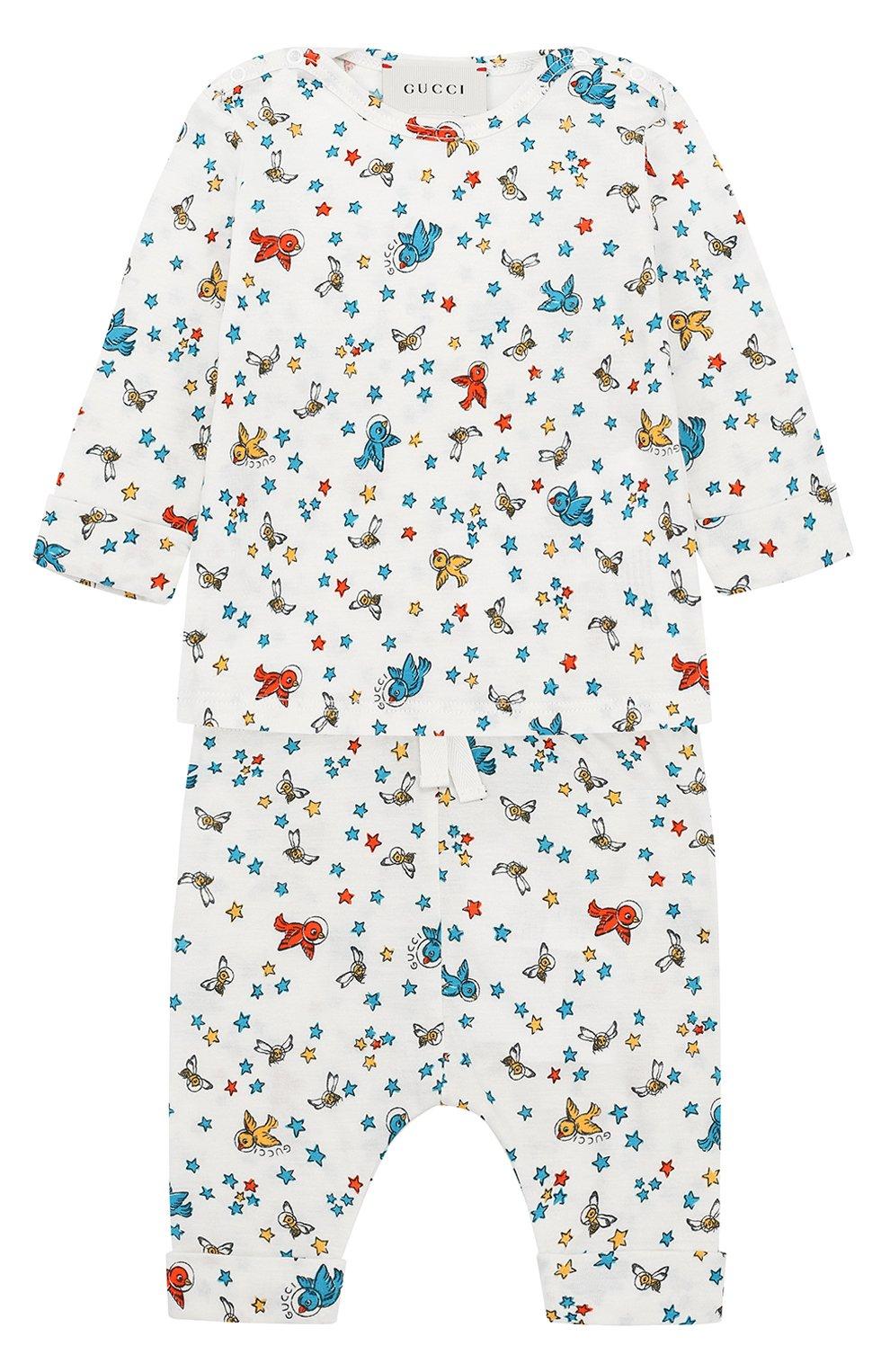 Детский хлопковая пижама с принтом GUCCI белого цвета, арт. 478416/X3G68 | Фото 1