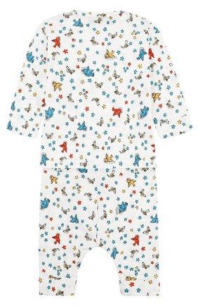 Детский хлопковая пижама с принтом GUCCI белого цвета, арт. 478416/X3G68 | Фото 2