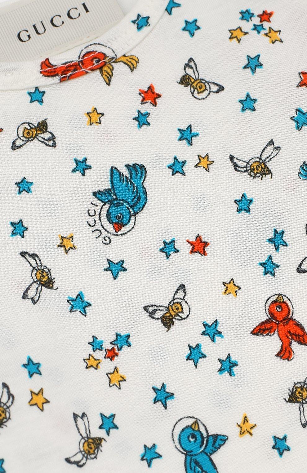 Детский хлопковая пижама с принтом GUCCI белого цвета, арт. 478416/X3G68 | Фото 3