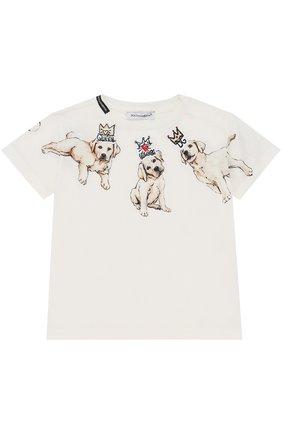 Хлопковая футболка с принтом Dolce & Gabbana белого цвета | Фото №1