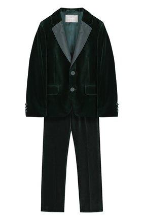 Бархатный костюм с пиджаком на двух пуговицах | Фото №1