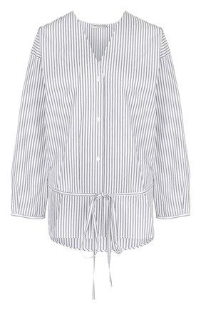 Хлопковая блуза свободного кроя с поясом | Фото №1
